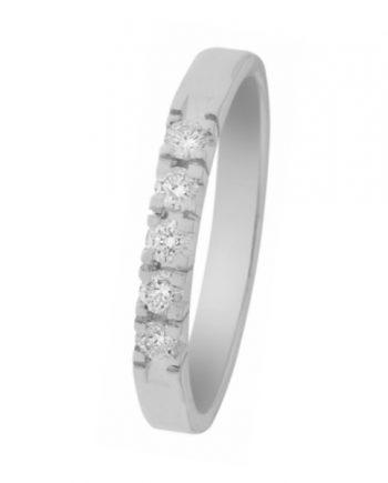 witgouden alliance ring van het merk Eclat met vijf briljanten van 0,03 ct., verlovingsring model A303