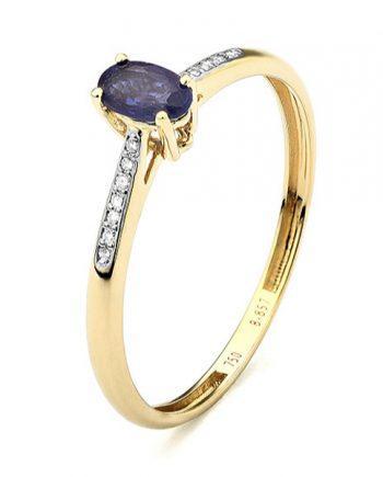 geelgouden blauw saffier solitaire ring