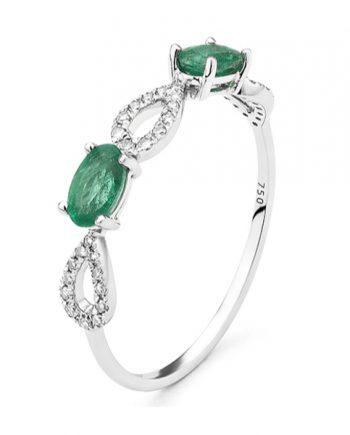 smaragd verlovingsring witgoud