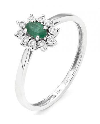 witgouden entourage smaragd ring