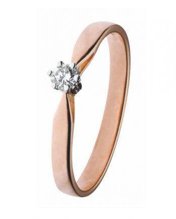 14K Rood-gouden groeibriljant verlovingsring van het merk Eclat, met een briljant geslepen diamant van 0.12 ct. - Model klassiek zes poots
