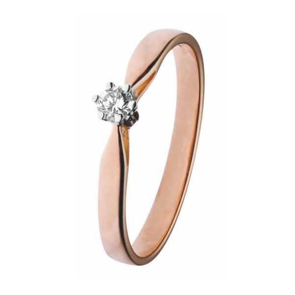 14K Rood-gouden groeibriljant verlovingsring van het merk Eclat, met een briljant geslepen diamant van 0.22 ct. - Model klassiek zes poots